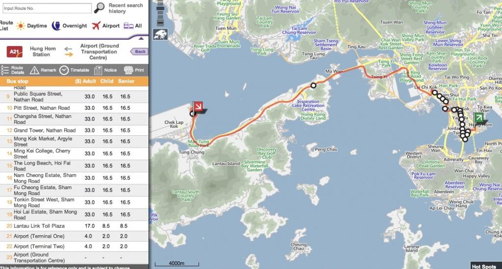 香港空港バスA21のルートマップ